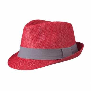 Rood gevlochten hoedje met contrasterende band