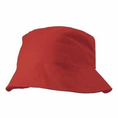Rood vissershoedje/zonnehoedje voor volwassenen