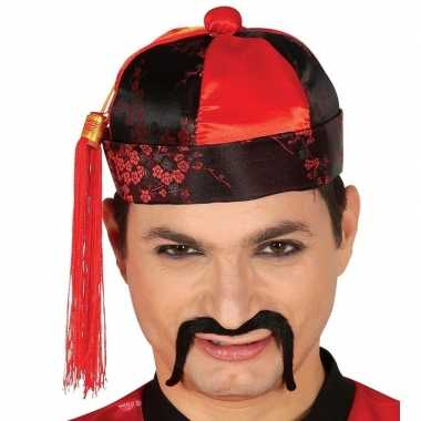 Rood zwart chinees mandarin hoedje met kwast