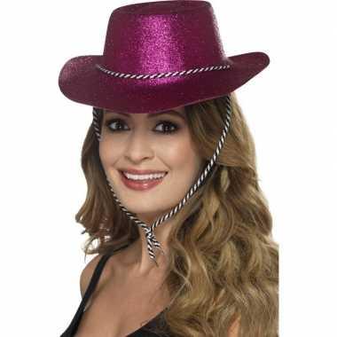 Roze glitter cowboyhoed voor dames hoed