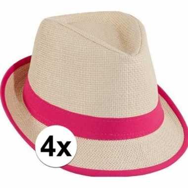 Roze toppers strandhoedjes 4 stuks