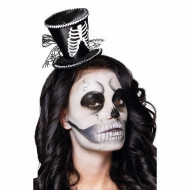 Skeletten dames hoedje op tiara