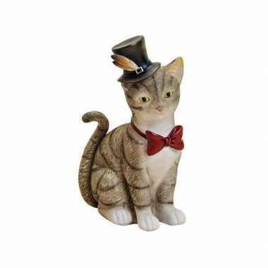 Spaarpot grijze kat poes met hoed en strikje 22 cm