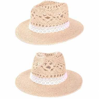 Stro hoed ibiza met kant