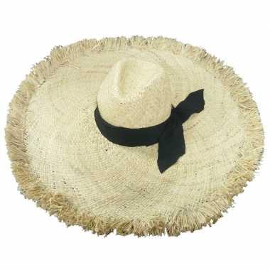 Stro strandhoed/zonnehoed ibiza style geba voor dames