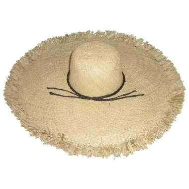 Stro strandhoed/zonnehoed ibiza style saba voor dames