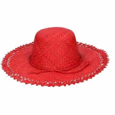 Stro strandhoed/zonnehoed rood tresse voor dames
