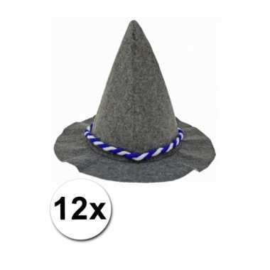 Tirolerhoed met blauw en wit touw 12 stuks