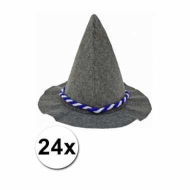 Tirolerhoed met blauw en wit touw 24 stuks