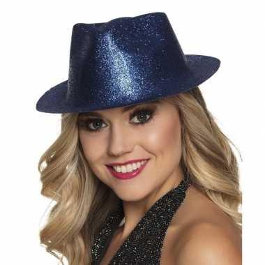 Toppers - blauw trilby hoedje met glitters voor dames