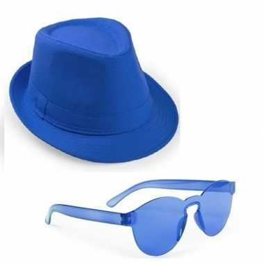 Toppers - blauw trilby party hoedje met blauwe zonnebril