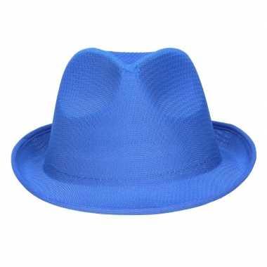 Toppers - blauw trilby verkleed hoedje/gleufhoed voor volwassenen