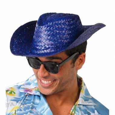 Toppers - blauwe cowboy/strohoed voor volwassenen