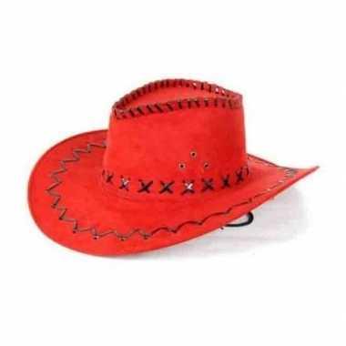 Toppers - rode lederlook cowboyhoed voor volwassenen