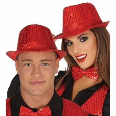 Toppers - rode trilby verkleed hoed met pailletten voor volwassenen