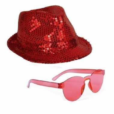 Toppers - rood trilby glitter party hoedje met rode zonnebril