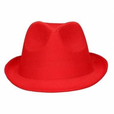 Toppers - rood trilby verkleed hoedje/gleufhoed voor volwassenen