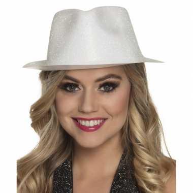 Toppers - wit trilby hoedje met glitters voor dames
