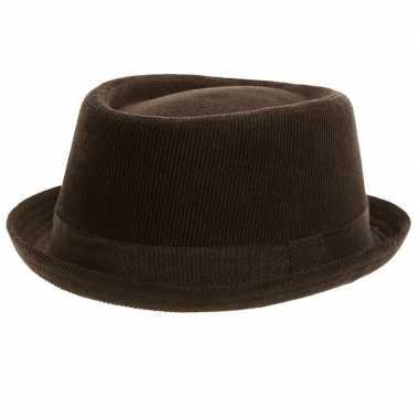 Trilby hoed zwart van ribstof voor volwassenen