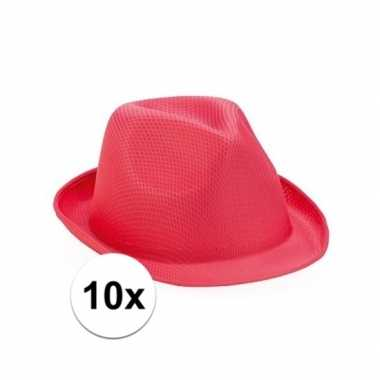 Trilby thema toppers hoedjes roze 10 stuks