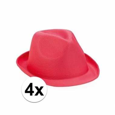 Trilby thema toppers hoedjes roze 4 stuks