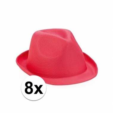 Trilby thema toppers hoedjes roze 8 stuks