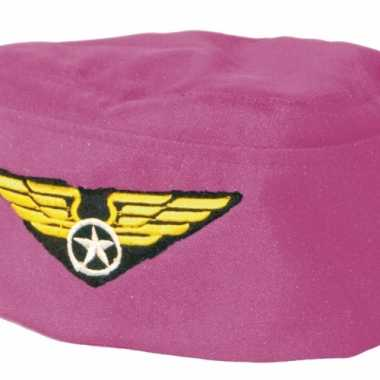 Verkleedhoedje roze stewardess