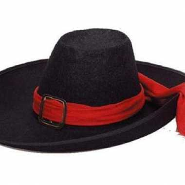 Vilten musketier hoed met lint