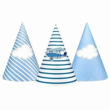 Vliegtuig thema feesthoedjes 6 stuks hoed