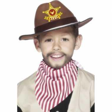 Wilde westen hoed bruin voor kids