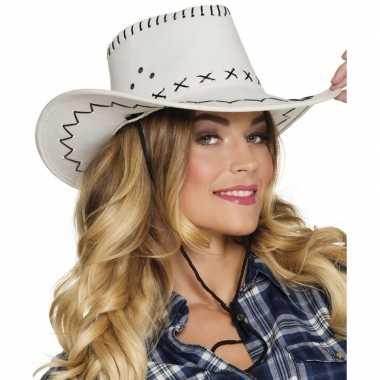 Witte cowboyhoed elroy lederlook voor volwassenen