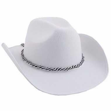 Witte cowboyhoeden met koord