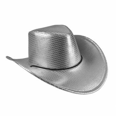 Zilveren cowboyhoed howdy pailletten voor volwassenen hoed