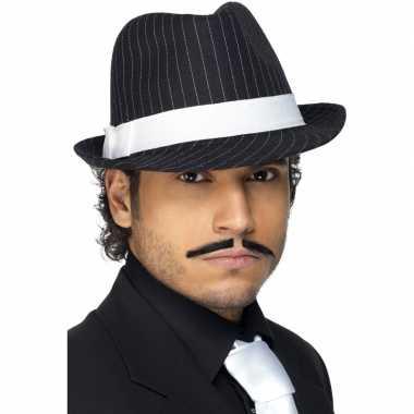 Zwart/wit gestreepte mafia hoeden