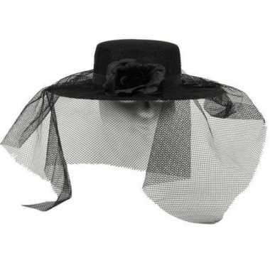 Zwarte bruid hoed met sluier
