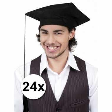 Zwarte geslaagd hoedjes 24x