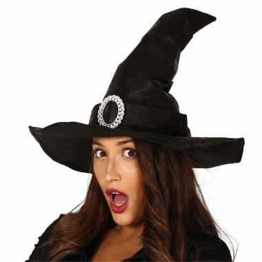 Zwarte heksenhoed lederlook met gesp voor dames hoed