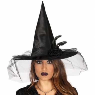 Zwarte heksenhoed met bloem en sluier