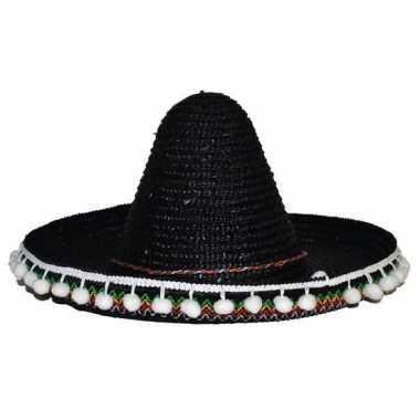 Zwarte mexicaanse verkleed sombrero hoed 25 cm voor kinderen