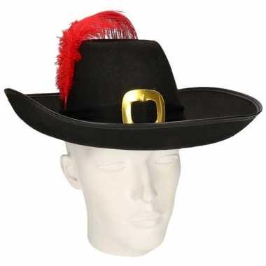 Zwarte musketier hoed met zwarte band