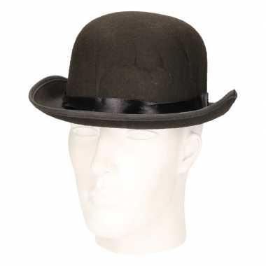 Zwarte vilten bolhoed voor volwassenen hoed