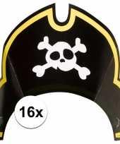 16x piraten themafeest feesthoedjes kapitein hoed