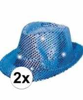 2x pailletten hoedjes blauw met led licht