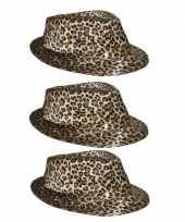 3x luipaard print hoeden