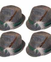 4x grijze tiroler hoedjes verkleedaccessoires voor volwassenen