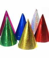 60x gekleurde papieren feesthoedjes holografisch hoed
