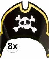 8x piraten themafeest feesthoedjes kapitein hoed