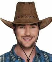 Bruine cowboyhoed elroy lederlook voor volwassenen hoed