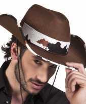 Bruine cowboyhoed texas koeienprint voor volwassenen hoed