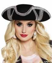 Driesteek carnavalshoed zwart zilver hoed